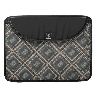 Rustic Elegant Brown  Leather Look Scrolls Pattern MacBook Pro Sleeve