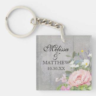 Rustic Elegant Floral Keychain