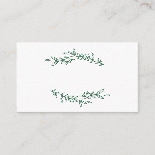 Rustic Elegant Floral Monogram Flat Place Cards