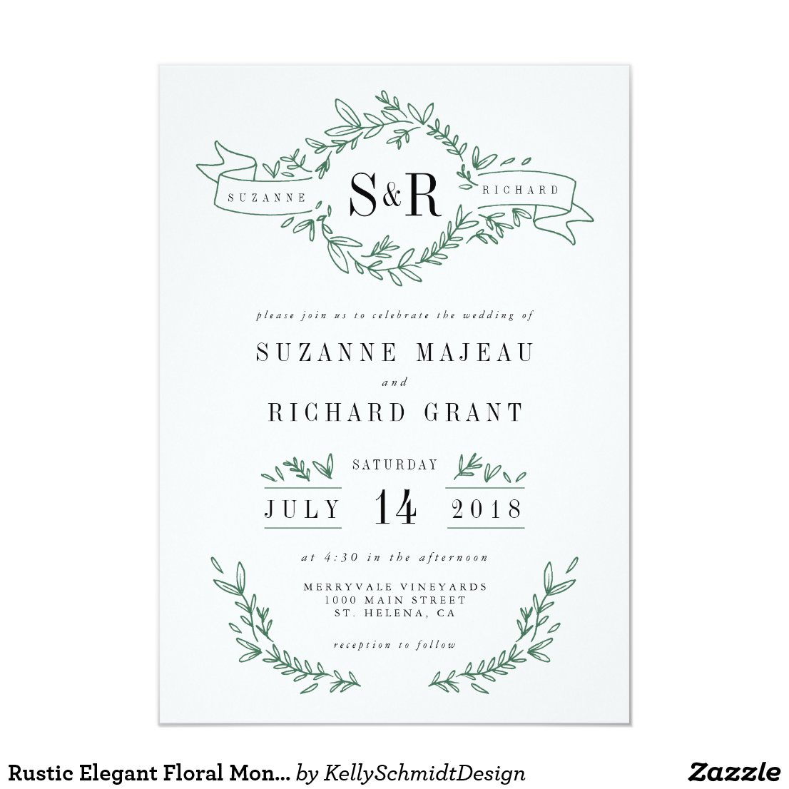 Rustic Elegant Floral Monogram Wedding Invitations