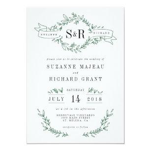 monogram wedding invitations zazzle