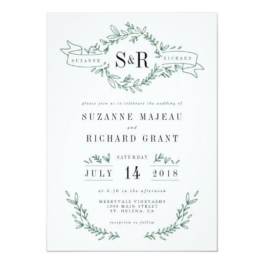 Rustic Elegant Floral Monogram Wedding Invitations Zazzlecom