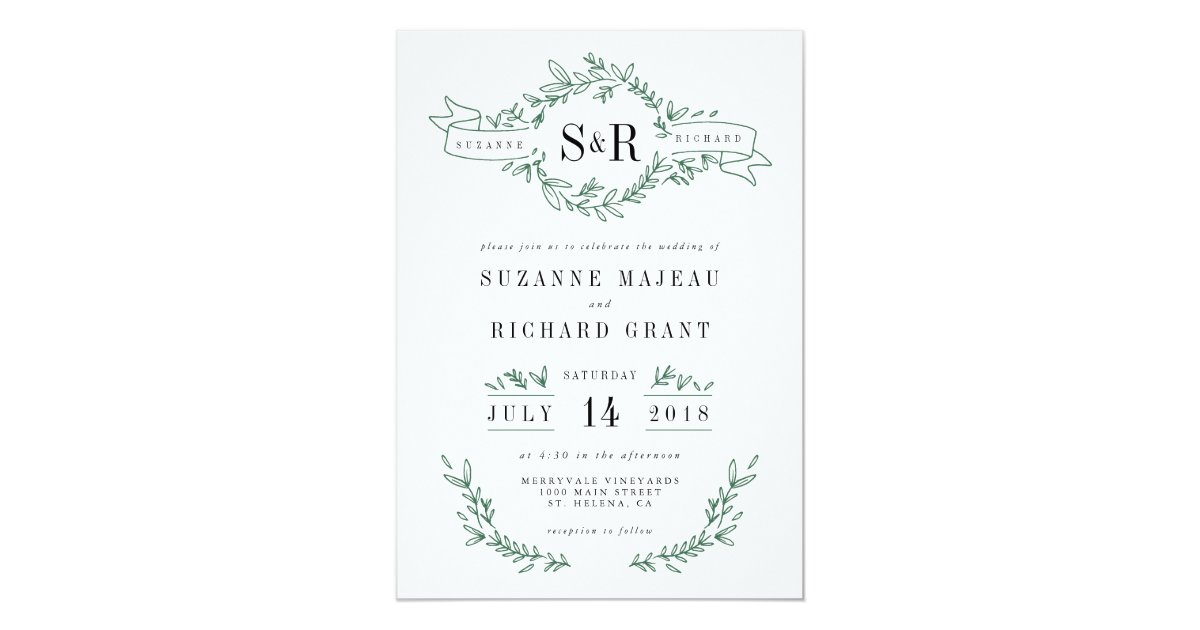 Elegant Monogram Wedding Invitations: Rustic Elegant Floral Monogram Wedding Invitations