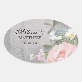 Rustic Elegant Floral Oval Sticker