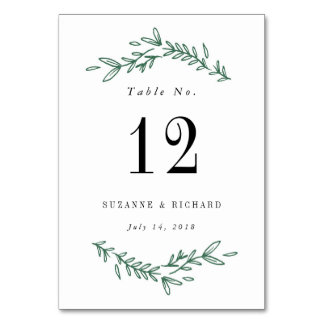 Rustic Elegant Floral Wreath Table Numbers