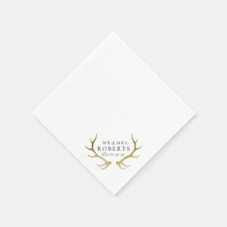 Rustic & Elegant Gold Antler | Custom Name Wedding Napkin