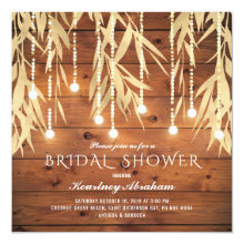 Rustic Elegant Gold Willow Tree Bridal Shower Invitation