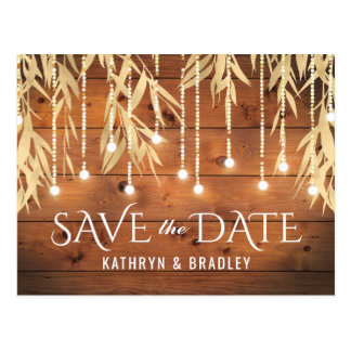 Rustic Elegant Gold Willow Tree Save the Date Postcard