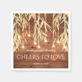 Rustic Elegant Gold Willow Tree Wedding Paper Napkin