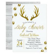 Rustic Elegant Gray Wood Gold Antlers Baby Shower Invitation