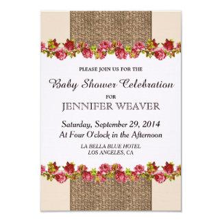 Rustic Elegant Jute, Roses, and Cream Design 3.5x5 Paper Invitation Card