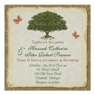Rustic Elegant Oak Tree Wedding Invitation