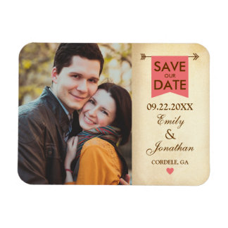 Rustic Elegant Photo Save The Date Rectangular Magnet