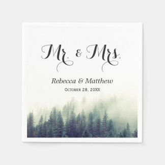 Rustic Elegant Pine Tree Forest Winter Wedding Paper Napkin