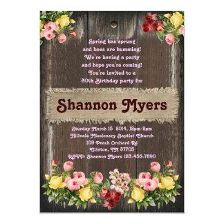 Rustic Elegant Roses Women's Birthday Invitation