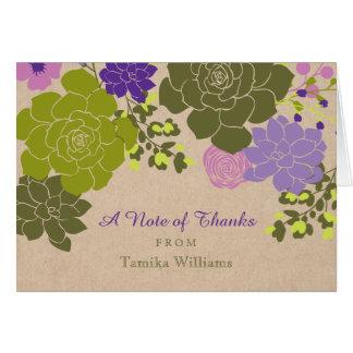 Rustic Elegant Succulent Floral Thank You Card