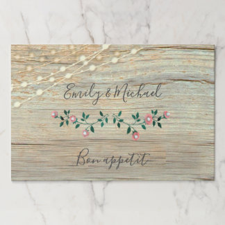 Rustic elegant  wooden string lights roses wedding paper placemat
