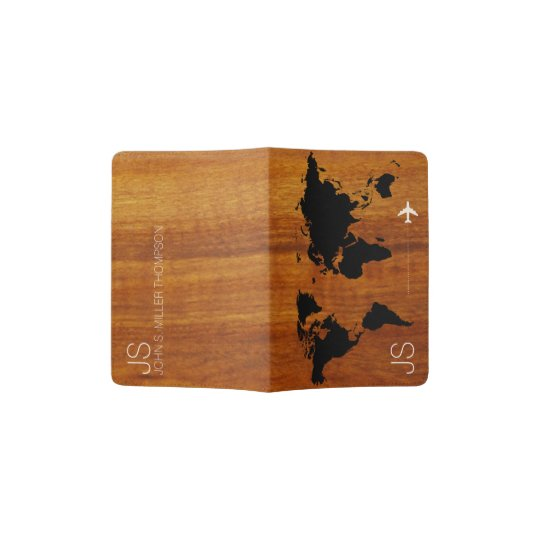 afec6b20a94a rustic   elegant world map on faux wood grains passport holder ...