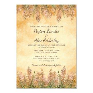 Rustic Elegant Yellow Ivory Pampas Wedding Invitation