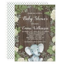 Rustic Elephant Baby Shower Invitation Botanical