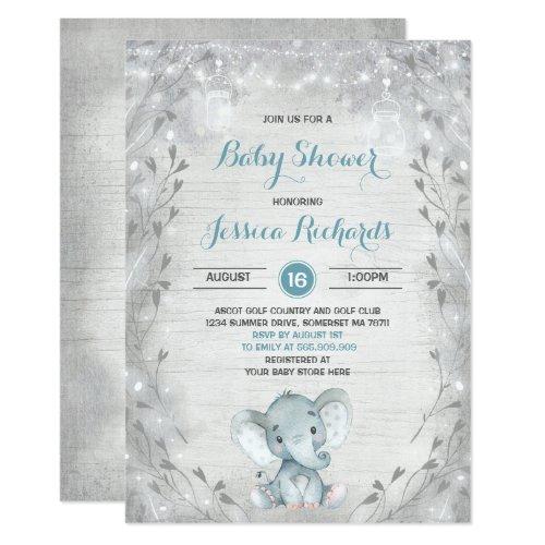 Rustic Elephant Baby Shower Invitation Boy Shower