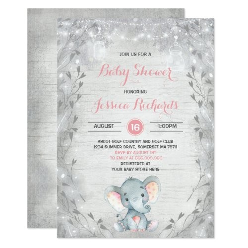 Rustic Elephant Baby Shower Invitation Girl Shower