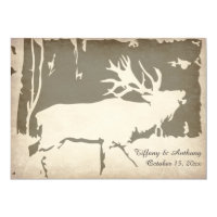 Rustic Elk Hunting Wildlife Wedding Invitations