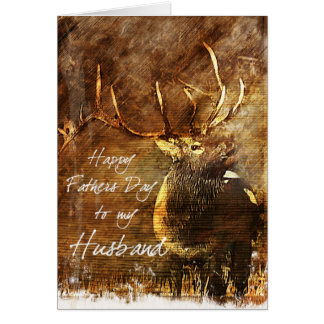 Rustic Elk Husbands Father's Day Card Cards