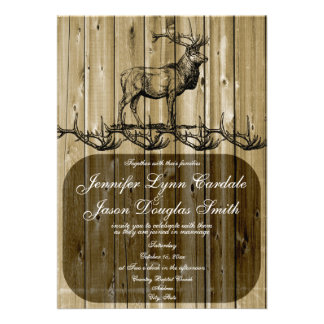 Rustic Elk Wildlife Hunting Wedding Invitations
