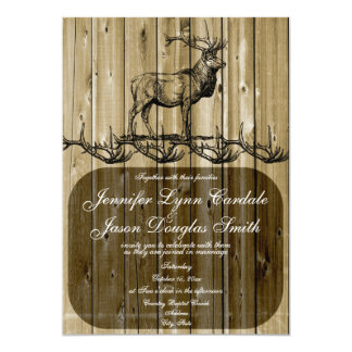 Rustic Elk Wildlife Hunting Wedding Invitations