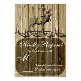 "Rustic Elk Wildlife Hunting Wedding RSVP Cards 3.5"" X 5"" Invitation Card"