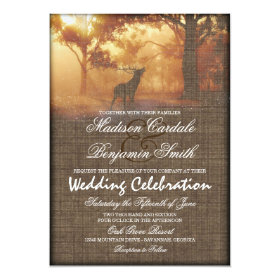 Rustic Elk Woodland Burlap Print Wedding Invites
