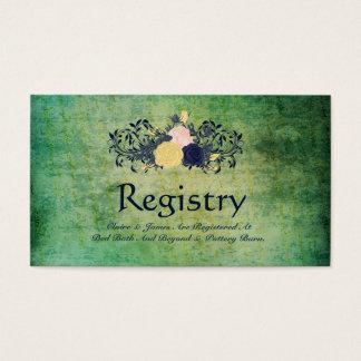 Rustic Emerald Floral Wedding Registry Card