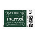 Rustic Emerald Green Wedding Postage