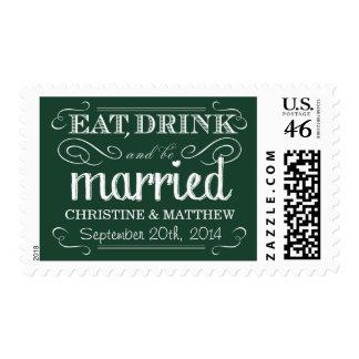 Rustic Emerald Green Wedding Postage