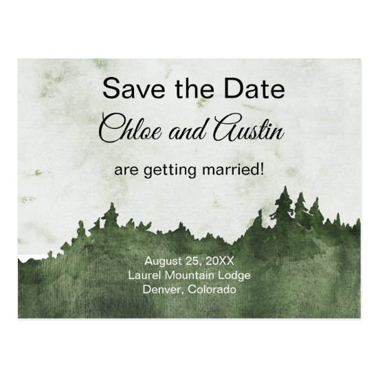 Rustic Emerald Jewel Tone Landscape Save The Date Postcard