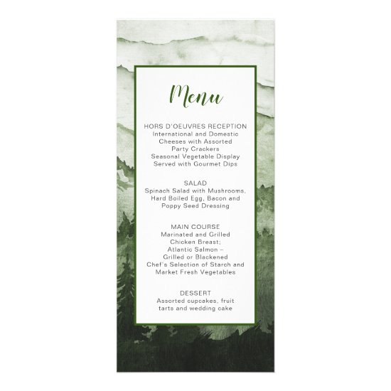 Rustic Emerald Mountain Landscape Wedding Menu