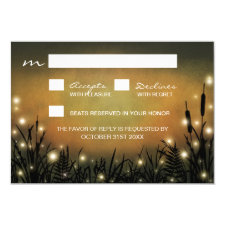 Rustic Enchanted Forest Firefly Wedding RSVP Cards