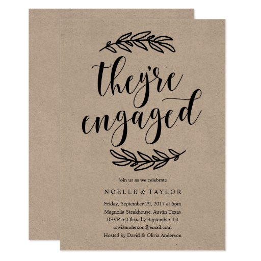 Rustic Engagement Party Dinner Invitation