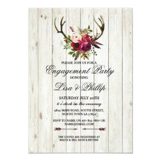 Rustic Engagement Party Shower Antlers Stag Invite