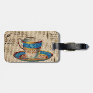 Rustic english country tea party blue teacup bag tag