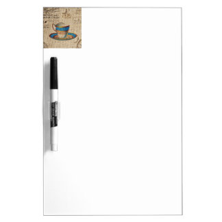 Rustic english country tea party blue teacup dry erase board