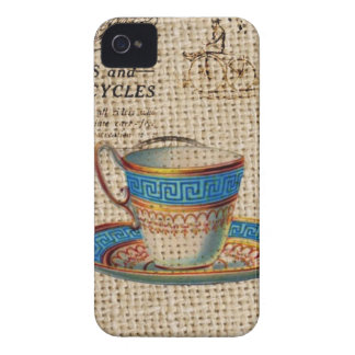 Rustic english country tea party blue teacup iPhone 4 cover