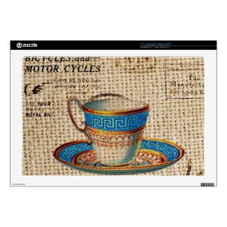 Rustic english country tea party blue teacup laptop decals