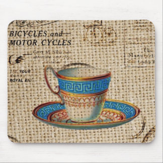 Rustic english country tea party blue teacup mouse pad