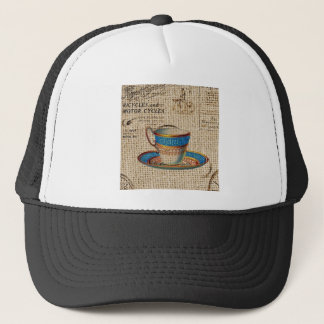 Rustic english country tea party blue teacup trucker hat