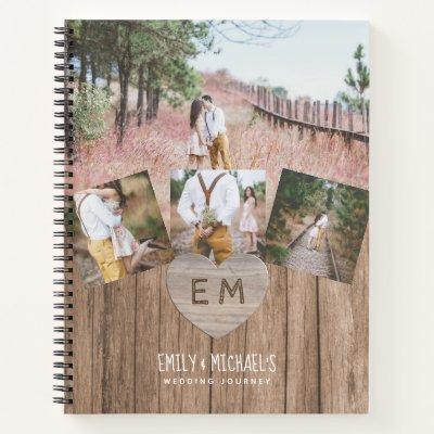 Rustic Engraved Heart Wedding Bridal Shower PHOTOS Notebook