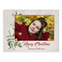 Rustic Engraved Holly   Text   Photo Postcard