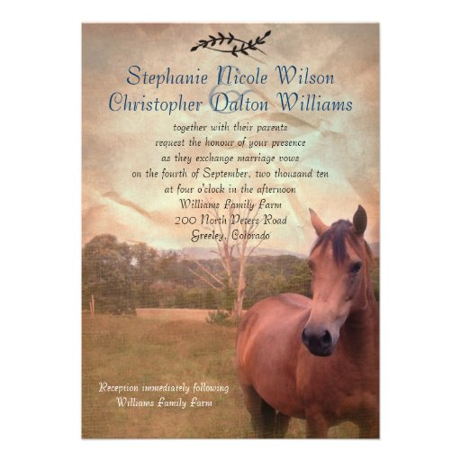 Rustic Equestrian Wedding Invitation - Brown Back (front side)