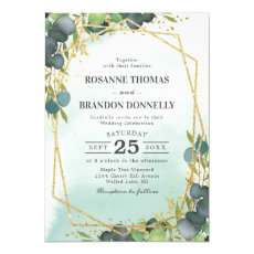 Rustic Eucalyptus Gold Geometric Wedding Invitation
